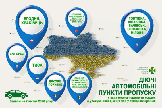 З 7 квітня державний кордон України можна буде перетнути лише у 19 пунктах пропуску